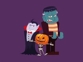 conjunto de personagens de halloween vetor