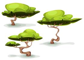 Árvores estranhas engraçadas para cenários de fantasia vetor
