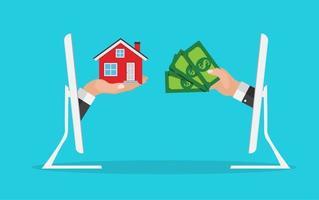 conceito imobiliário. comprar cartaz de casa com mãos de homens, pagando dinheiro para construir a casa. ilustração vetorial vetor