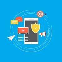 Projeto de ilustração de vetor plana de segurança de dados