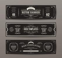 Conjunto de modelos de banners Web vintage vetor