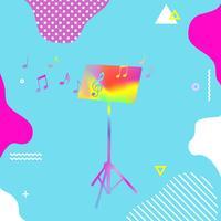 Carrinho de música colorido com ilustração em vetor notas musicais