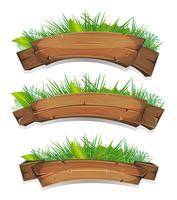 Banners de madeira em quadrinhos com folhas de plantas vetor