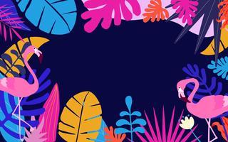 Selva tropical deixa o fundo com flamingos vetor