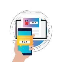 Processo de verificação de smartphone gradiente cor ilustração vetorial