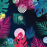 Selva tropical deixa o fundo. Design de cartaz tropical colorido