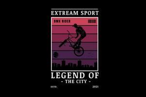ciclista de motocross esporte extremo cor vermelha e roxa vetor