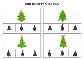 encontrar a sombra correta das árvores de natal. jogos de cartas de clipe para impressão para crianças. vetor