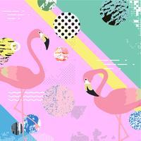 Fundo colorido na moda com pássaros flamingo
