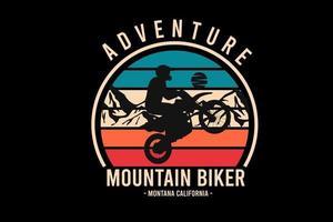 aventura mountain bike montana califórnia cor laranja creme e verde vetor