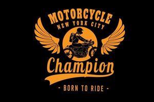 motocicleta campeã cidade de nova york cor amarela vetor