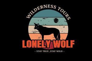 passeios na selva solitário lobo cor laranja verde e creme vetor
