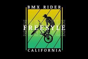 bicicleta motocross freestyle california cor amarelo e verde vetor