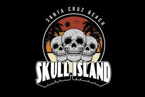 crânio santa cruz praia crânio ilha cor laranja amarelo creme e cinza vetor