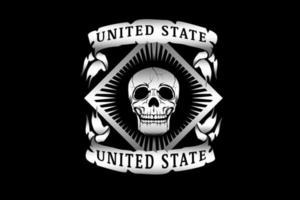 crânio do estado unido cor prata vetor