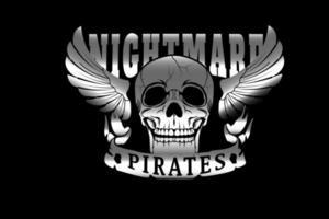 crânio pesadelo piratas cor prata vetor