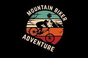 desenho de silhueta de aventura de mountain bike vetor