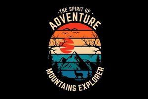 aventura montanhas explorador silhueta design vetor