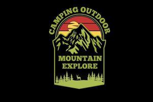 acampamento ao ar livre montanha explorar design de silhueta vetor