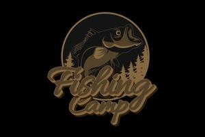 acampamento de pesca cor marrom vetor