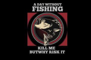 design de tipografia de pesca vetor