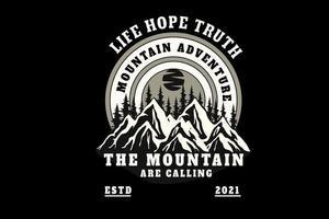 vida esperança verdade montanha aventura a montanha está chamando de cor branca e cinza vetor