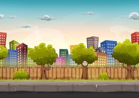 Paisagem de cidade de rua sem costura para jogo Ui