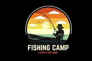 desenho da silhueta do acampamento de pesca com fundo retro vetor