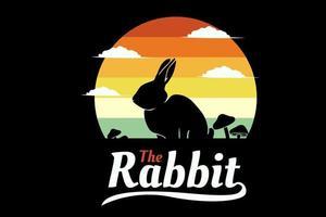 o desenho da silhueta do coelho com fundo retro vetor