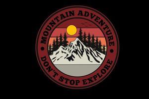 desenho de silhueta de aventura na montanha vetor