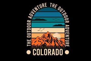 o desenho da silhueta do colorado de aventura ao ar livre vetor