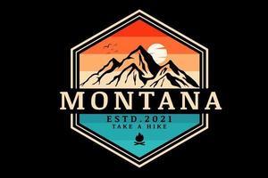 montana faça uma caminhada cor laranja e verde vetor