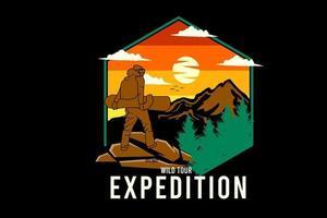 desenho de silhueta de expedição de turismo selvagem com fundo retrô vetor