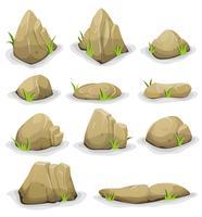Pedras e pedregulhos com folhas de grama vetor