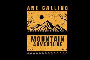 estão chamando a cor da aventura na montanha de amarelo e preto vetor