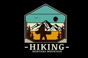 caminhada montana montana cor verde amarelo e marrom vetor