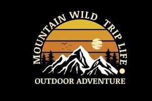 montanha viagem selvagem vida aventura ao ar livre cor amarelo gradiente vetor