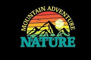 montanha aventura natureza cor laranja amarelo e verde vetor