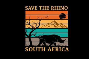 salve o rinoceronte cor da áfrica do sul amarelo laranja e verde vetor