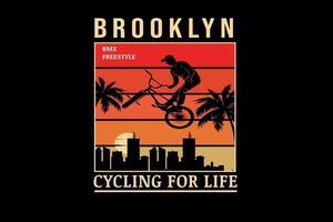 brooklyn bike motocross freestyle cor laranja gradiente vetor