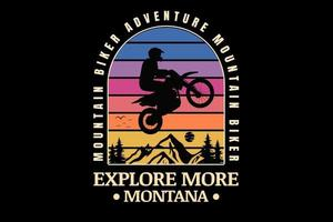 mountain bike aventura explore mais montana cor azul rosa e amarelo vetor