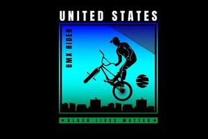 ciclista de motocross dos estados unidos cor azul e verde vetor