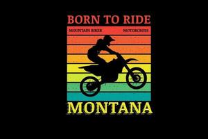 nascido para andar de moto mountain bike cor laranja amarelo e verde vetor