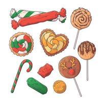 mão desenhada vetor de doces de Natal.