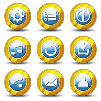 Ícones de ouro para o jogo de interface do usuário