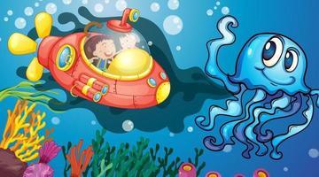 cena subaquática com crianças felizes em um submarino explorando o submarino vetor