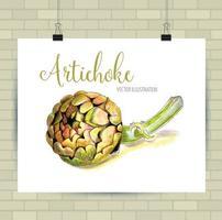 bela ilustração vetorial desenhada à mão de vegetais. imagem de alcachofra, elemento de esboço para rótulos, embalagens e design de cartões. vetor