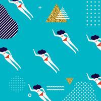Projeto de padrão sem emenda de verão com mulher nadando