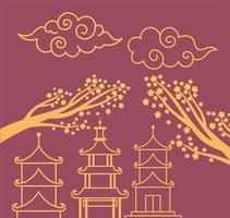 pagodes sakura árvores flores e nuvens encaracoladas elemento oriental linha de decoração design vetor