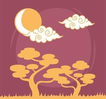 bonsai árvores nuvens encaracoladas sol céu elemento oriental linha de decoração design vetor